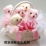 小熊花束,小熊礼篮(粉色系)