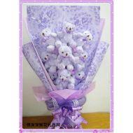 小熊花束,9只紫色关节熊花束
