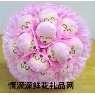 小熊花束,粉色KAPO猴