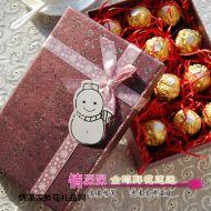 圣诞节鲜花,圣诞礼物费列罗巧克力紫色礼盒